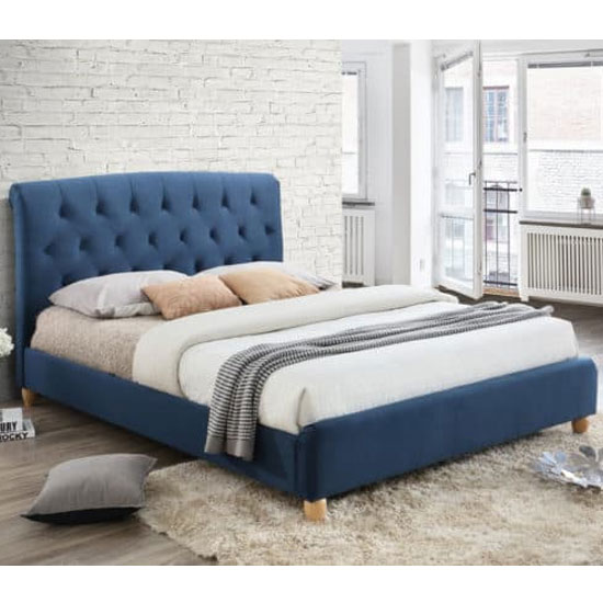 Brompton Fabric Double Bed In Midnight Blue