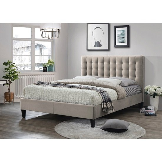 Brompi Fabric Bed In Champagne With Dark Wooden Feet