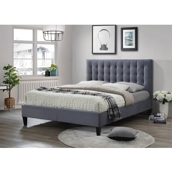 Brompton Fabric Bed In Grey With Dark Wooden Feet