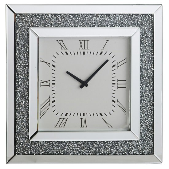 Brompton Modern Mirrored Glass Wall Clock With Crystals