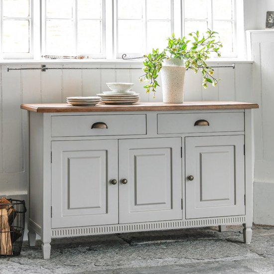 Bronte Sideboard In Taupe With 3 Doors And 2 Drawers_1