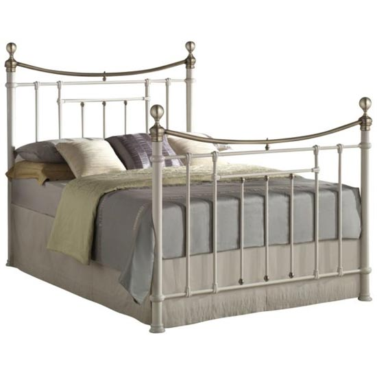 Bronte Steel Double Bed In Cream_2