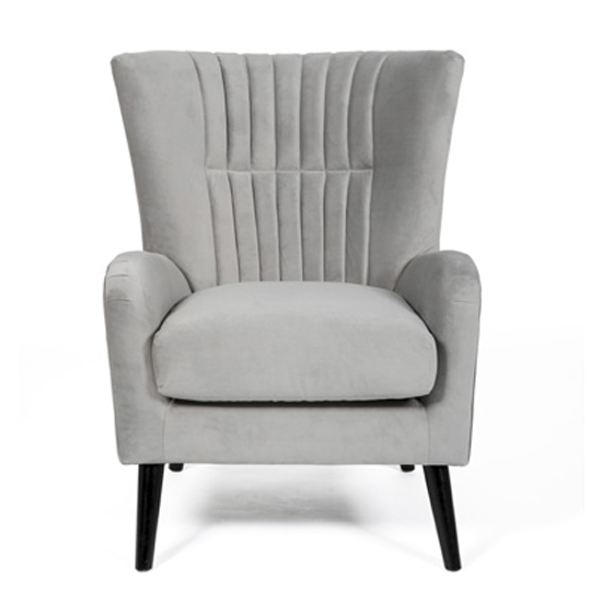 Brookis Velvet Upholstered Lounge Chair In Grey_2