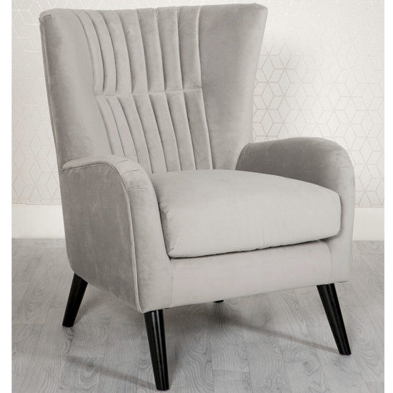 Brookis Velvet Upholstered Lounge Chair In Grey