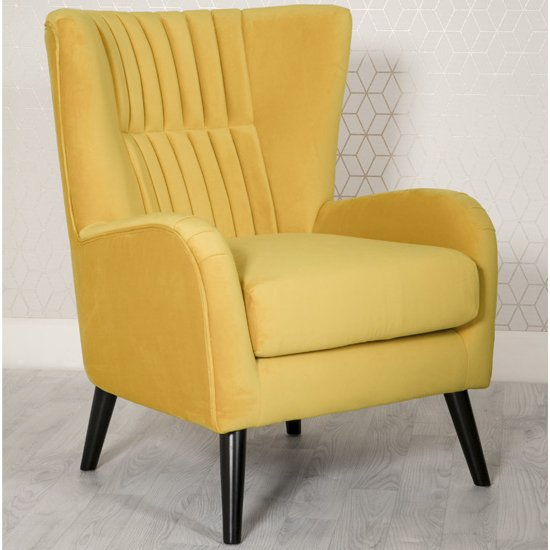 Brook Velvet Upholstered Lounge Chair In Ochre