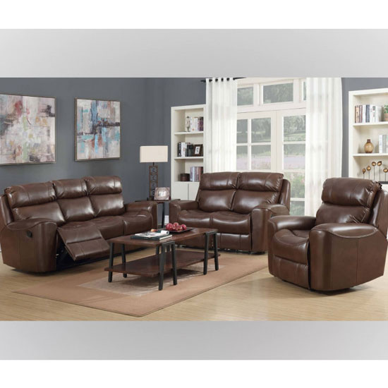 Brookland 3 Seater Sofa And 2 Armchairs Suite In Tan
