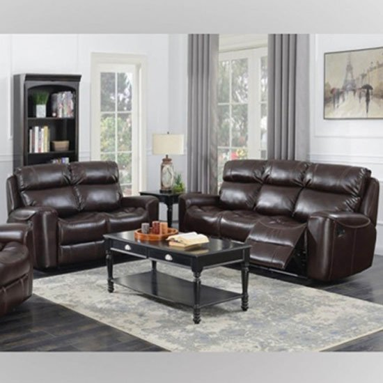 Brookland Leather 3 And 2 Seater Sofa Suite In Chestnut