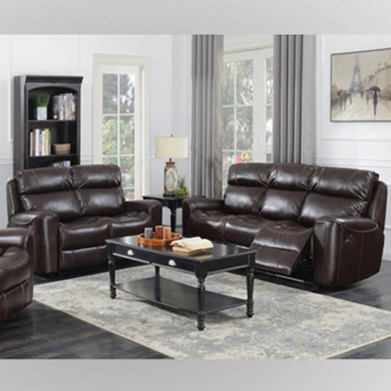 Brookland Leather 3 And 2 Seater Sofa Suite In Chestnut_1
