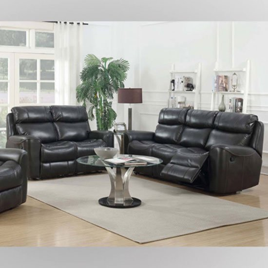 Brookland Leather 3 And 2 Seater Sofa Suite In Two Tone Grey_1