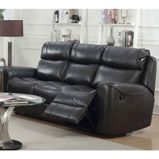 Brookland Leather 3 Seater Recliner Sofa In Two Tone Grey_1