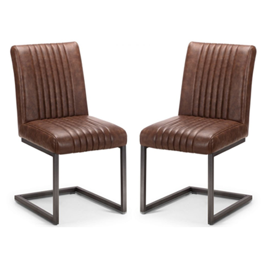 Brooklyn Antique Brown Leather Dining Chair In Pair