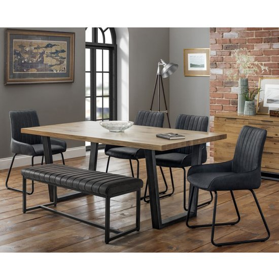 Brooklyn Dining Set With Soho Bench And 4 Black Leather Chairs