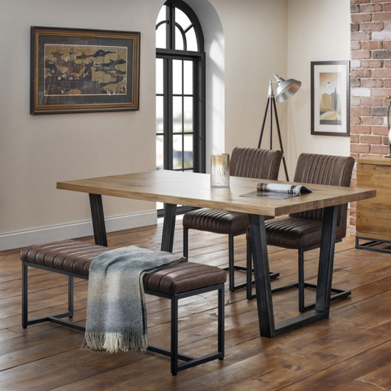 Brooklyn Dining Set With Upholstered Bench And 2 Brown Chairs