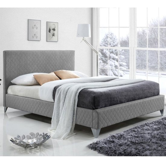 Product photograph showing Brooklyn Fabric Upholstered Double Bed In Grey