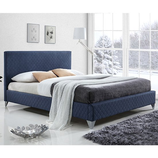Product photograph showing Brooklyn Fabric Upholstered King Size Bed In Blue