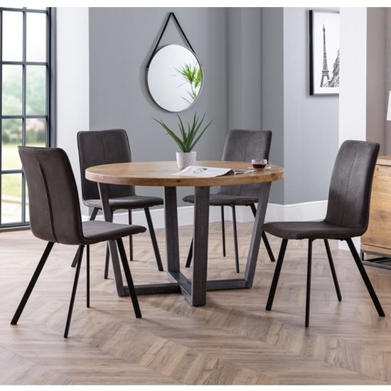 Brooklyn Round Dining Set With 4 Monroe Charcoal Grey Chairs