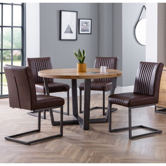 Brooklyn Wooden Dining Set With 4 Brown Leather Chairs