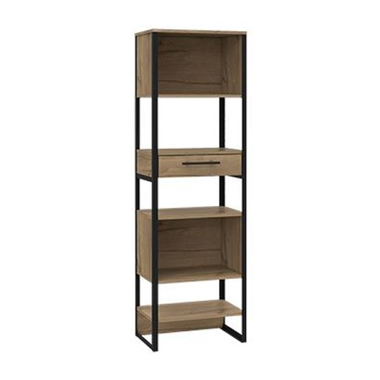Product photograph showing Brooklyn Tall Narrow Bookcase In Bleached Pine With 1 Drawer