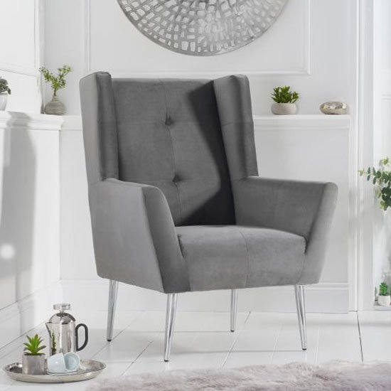 Brooklyn Velvet Upholstered Accent Chair In Grey