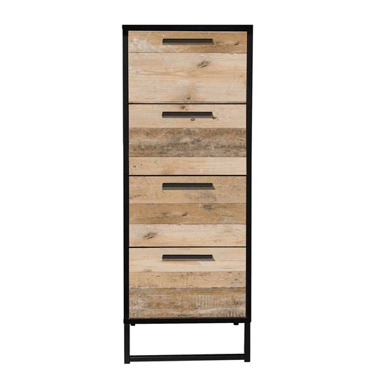 Brooklyn Wooden Chest Of Drawers In Pale Wood With 4 Drawers