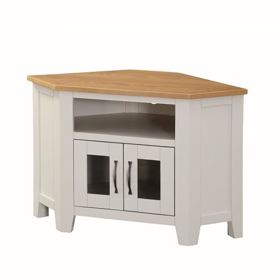 Brooklyn Wooden Corner TV Stand In Stone Painted With 2