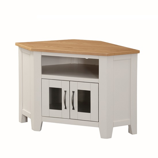 Brooklyn Wooden Corner TV Stand In Stone Painted With 2 Doors