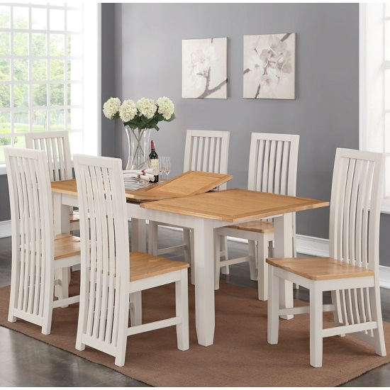 Brooklyn Extendable Dining Set In Stone Painted With 6 Chairs