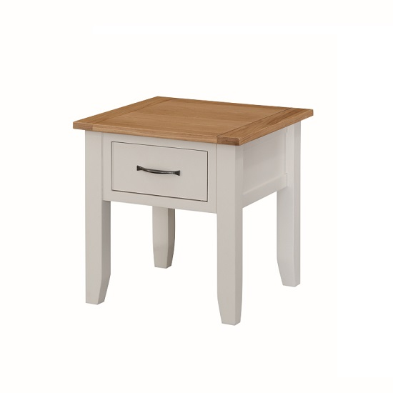 Brooklyn Wooden End Table In Stone Painted With 1 Drawer