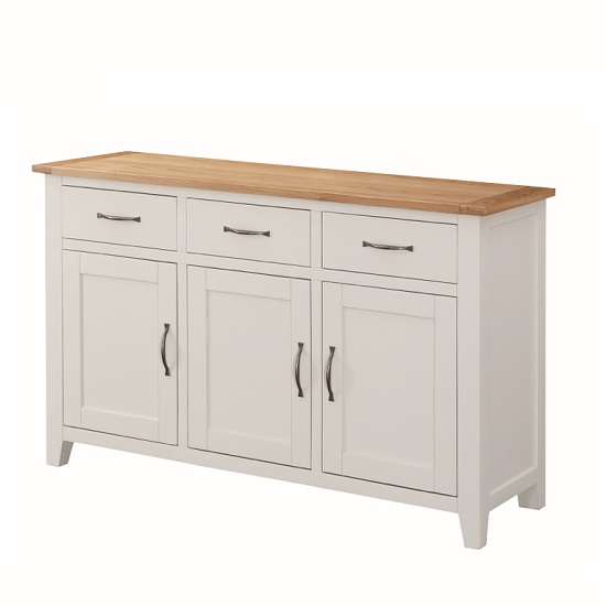 Brooklyn Wooden Sideboard In Stone Painted With 3 Doors