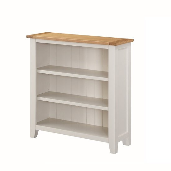 Brooklyn Wooden Low Bookcase In Stone Painted With 3 Shelf