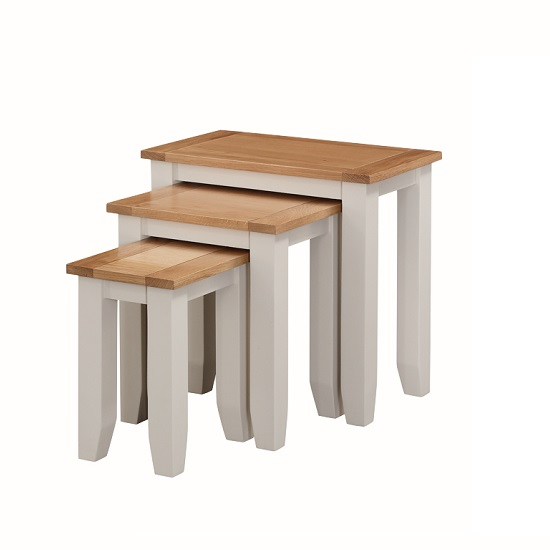Brooklyn Wooden Nest of 3 Tables In Stone Painted
