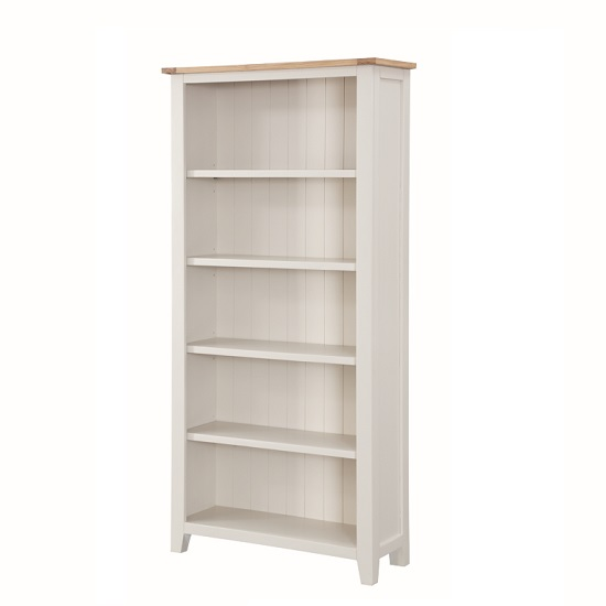 Brooklyn Wooden Tall Bookcase In Stone Painted With 5 Shelf