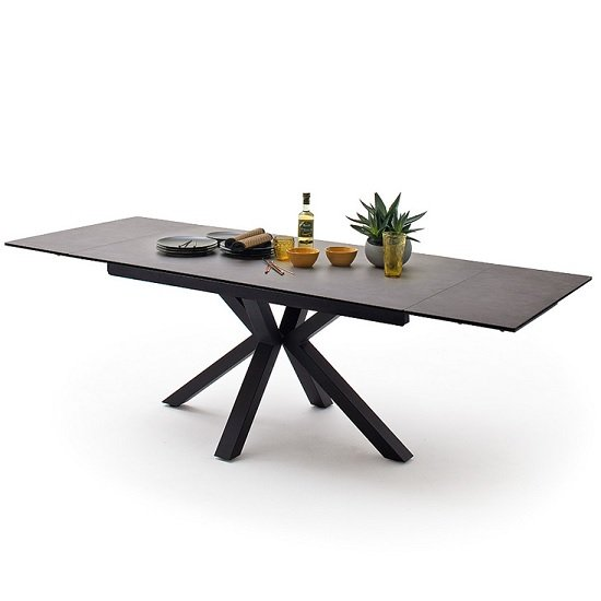 Brooky Glass Extendable Dining Table In Anthracite Metal Frame