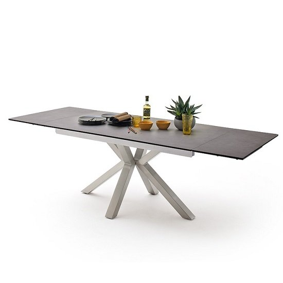 Brooky Glass Extendable Dining Table In Anthracite Steel Frame