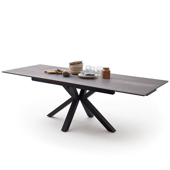Brooky Glass Extendable Dining Table In Barique Wood Metal Frame