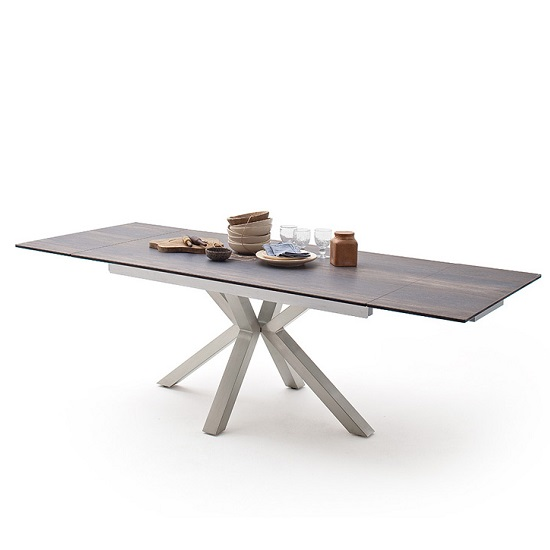 Brooky Glass Extendable Dining Table In Barique Wood Steel Frame