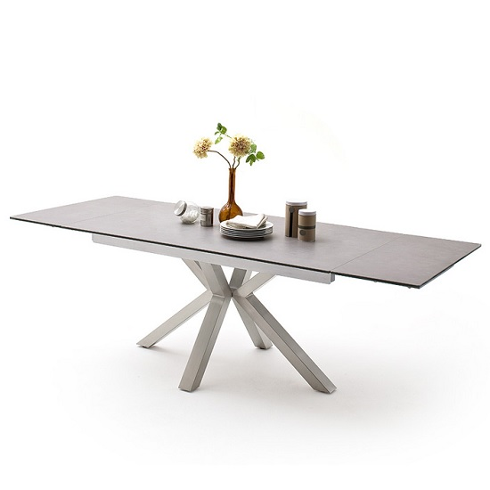 Brooky Glass Extendable Dining Table In Light Grey Steel Frame