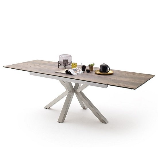 Brooky Glass Extendable Dining Table In Natural Wood Steel Frame