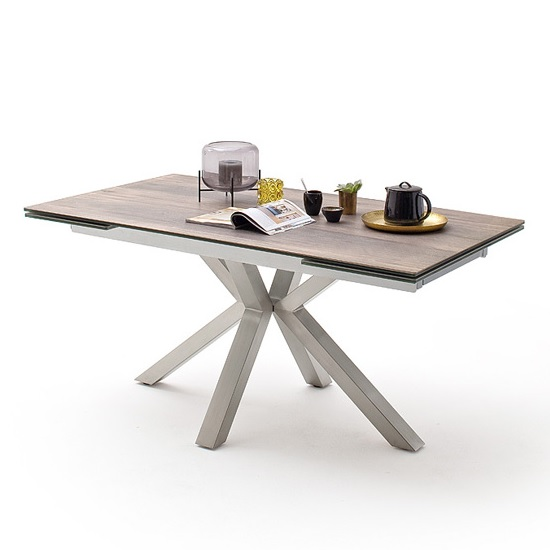 Brooky Glass Extendable Dining Table In Natural Wood Steel Frame_2