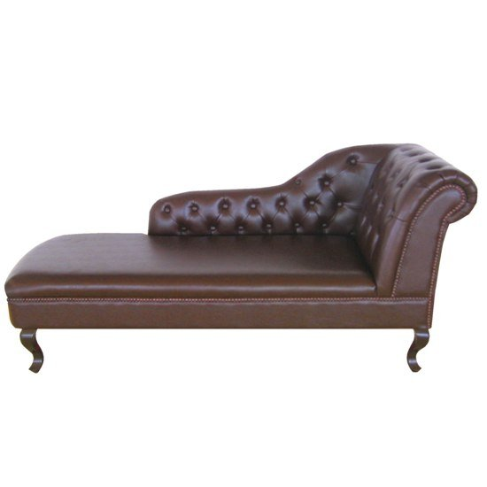 Antique genuine leather chaise lounge left armrest for Antique chaise lounge furniture