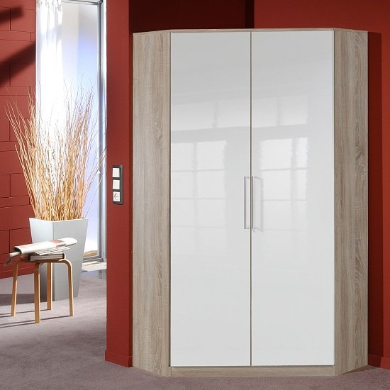 Bruce Corner Wardrobe In Oak Effect White High Gloss Fronts