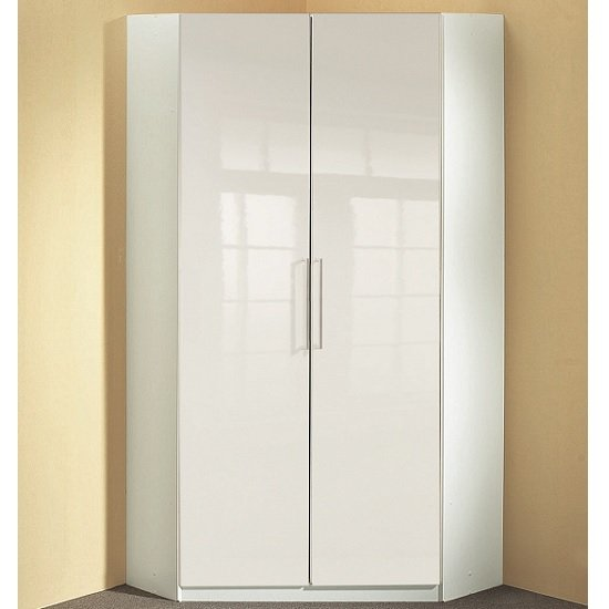 Bruce Corner Wardrobe In White High Gloss Fronts With 2 Doors