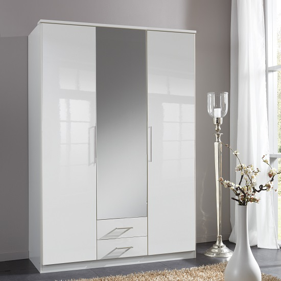 Bruce Mirror Wardrobe In White Gloss Fronts 3 Doors 2 Drawers