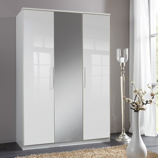 Bruce Mirrored Wardrobe In White High Gloss Fronts And 3 Doors