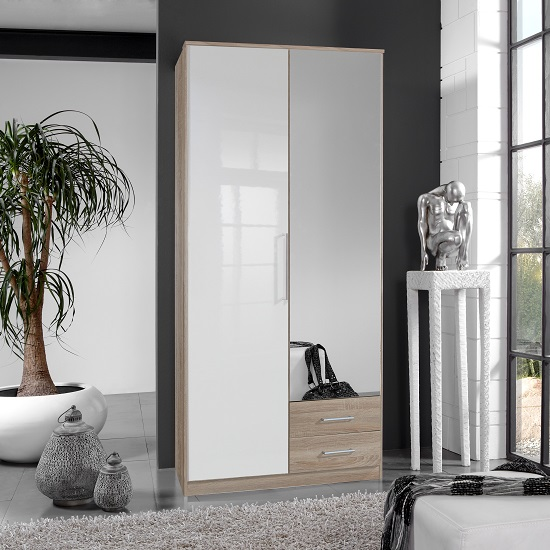 Bruce Mirror Wardrobe In Oak Effect White Gloss Fronts 2 Drawers