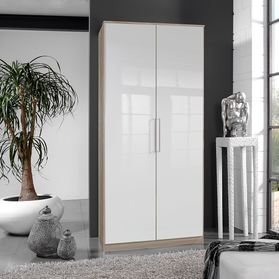 Bruce Wardrobe In Oak Effect With White Gloss Fronts And 2 Doors