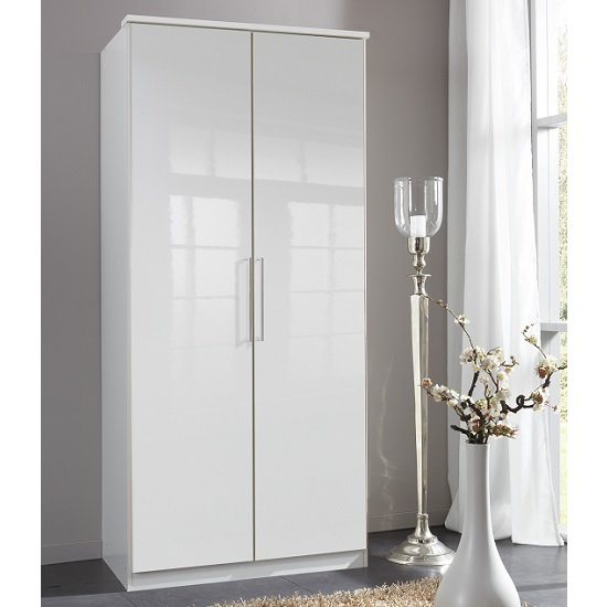 Bruce Wardrobe In White With High Gloss Fronts And 2 Doors