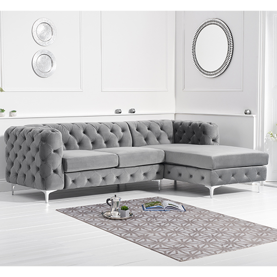 Bruket Velvet Right Handed Chaise Corner Sofa In Grey_2