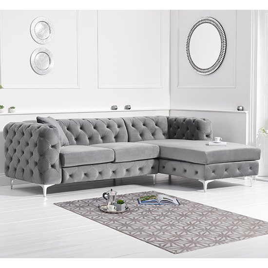 Bruket Velvet Right Handed Chaise Corner Sofa In Grey_1