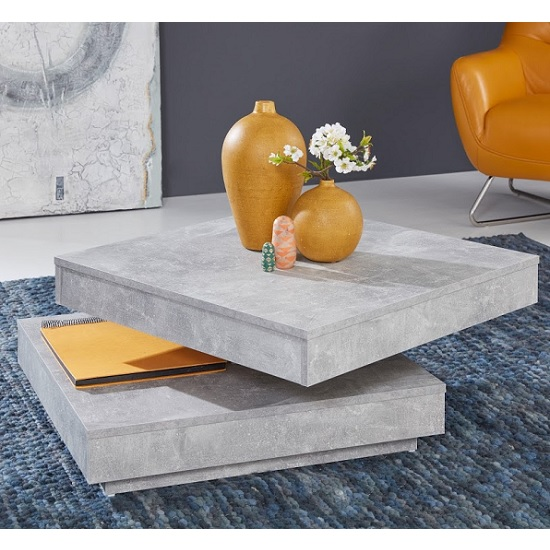 Brunch Wooden Rotating Coffee Table Square In Cement Grey_2